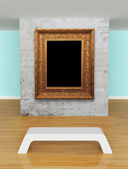 Gallery's hall with bench and ornate frame — Foto de Stock