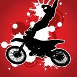 Постер, плакат: Motocross biker silhouette