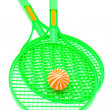 Stock Photo: Green racket and ball