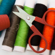Scissors, thimble, thread - Stock Photo