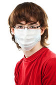 Teenager with glasses and mask — Stock Photo