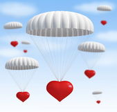 Heart at parachute — Stock Photo