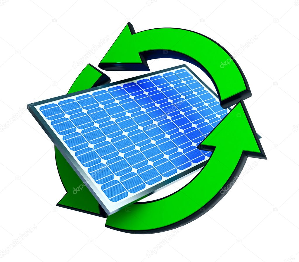 Renewable energy solar panels on a white background  Stock Photo #7623670