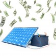Stock Photo: Solar panel charges battery