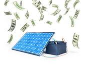 Solpanelen laddar batteriet — Stockfoto