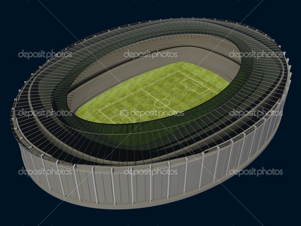 Olympic Stadium with Soccer Field on dark background — Stock Photo #6822178