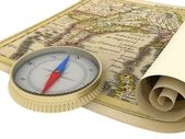Old Map and Compass Isolated on white — Stock Photo