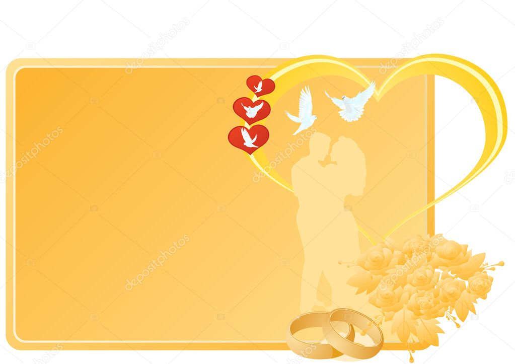 Two gold wedding rings and flowers near a business card with a picture of