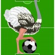 Ostrich with a soccer ball — Stock Vector