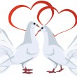 Stock Vector: Two white doves and hearts