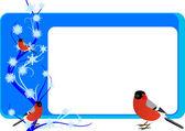 带有 bullfinches 的名片 — 图库矢量图片