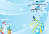 A helicopter with Christmas decorations — Stock Vector