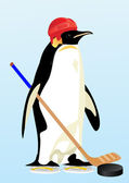 Penguin-hockey player — Stockvektor