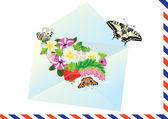 Dopis, květiny a motýli — Stock vektor