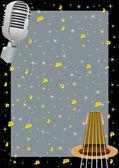 Gitaar, microfoon en een sterrenhemel — Vector de stock