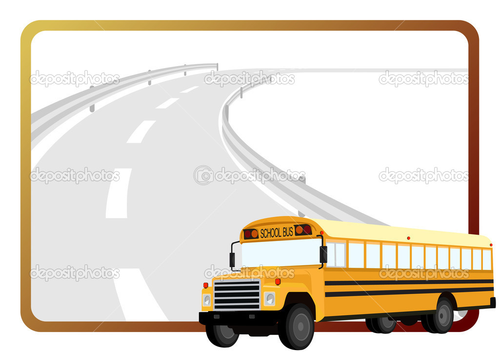 School bus on the background of a frame with an asphalt road  Stock Vector #7802346