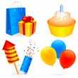 Birthday icons. — Stock Vector