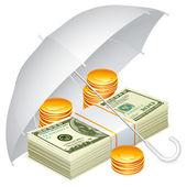 Umbrella and money. — Stock Vector