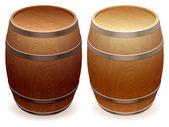 Wooden barrels. — Stock Vector