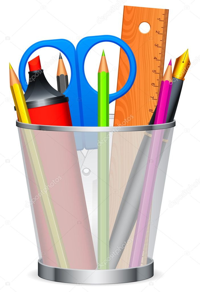 Writing and drawing tools in the cup. — Stock Vector #7557401