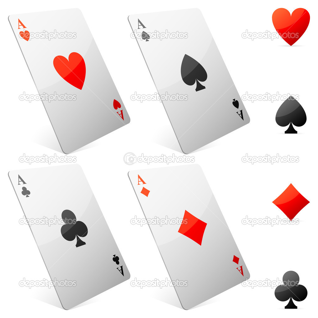 Four game cards and card suits symbols. — Stock Vector #7683494