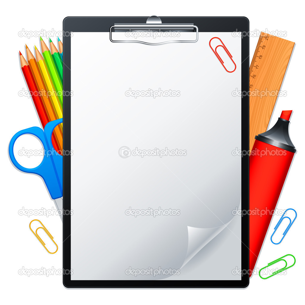 Clipboard with blank page and writing tools. — Stock Vector #7733324