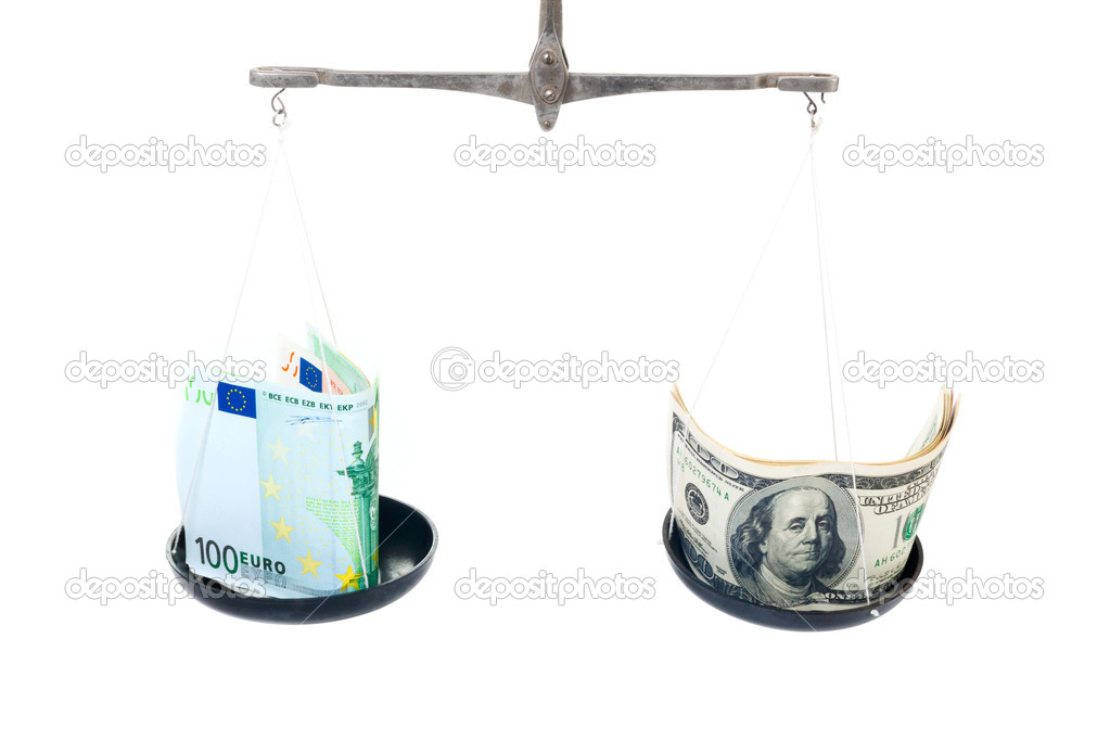 Money on balanced weight isolated on white background  Stock Photo #6850728