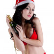 Sexy santa claus in red lingerie — Stock Photo