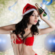 Stock Photo: Sexy santa claus in red lingerie