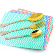 Royalty-Free Stock Photo: Old fork and spoons on the color napkins