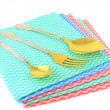 Old fork and spoons on the color napkins — Stock Photo