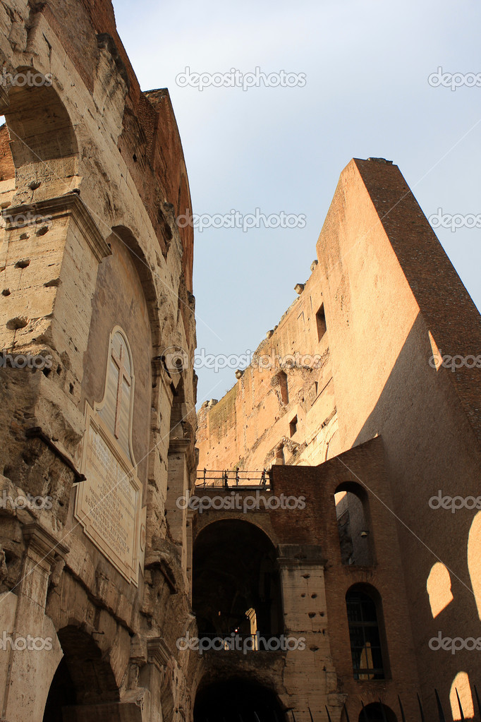 Detail of Colloseum (Coliseum), an amphitheater in the center of Rome, Italy  Stock Photo #6827409