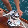 Winch on a sailboat — Foto Stock
