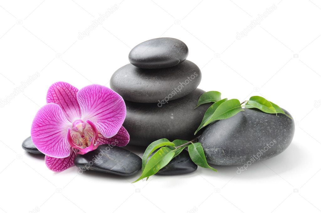 Spa concept with zen stones and orchid — Stock fotografie #6891538