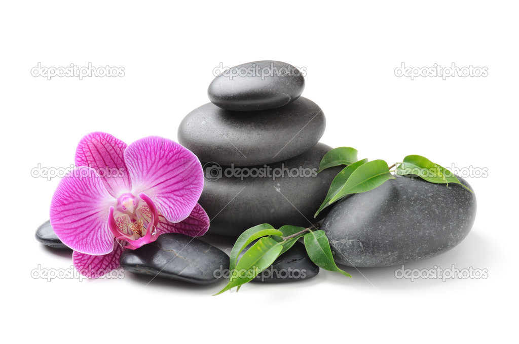 Spa concept with zen stones and orchid — Lizenzfreies Foto #6891538