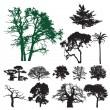 Colección silueta del árbol — Vector de stock