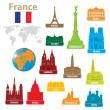Stock Vector: Symbols city to France