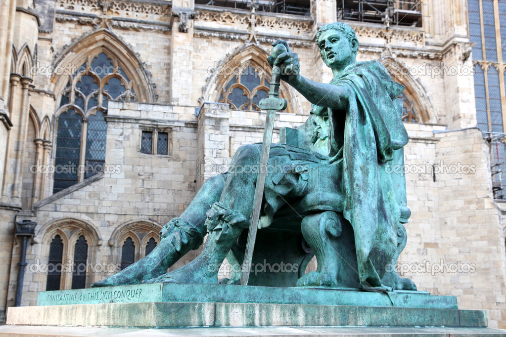 Statue of Constantine I outside York Minster in England , UK  Stock Photo #6928234