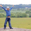 Boy at classic middle England landscape — Stock Photo