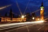 Big Bena i gmachu Parlamentu w nocy, Londyn, Wielka Brytania — Zdjęcie stockowe