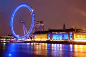 Night view of London Eye, UK — Stock Photo