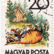 Stamp printed in Hungary shows tale about small turnip — Stock Photo