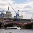 Blackfriars bridge and St Paul's cathedral - Stock Photo
