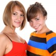 Portrait of two happy young women — Stockfoto