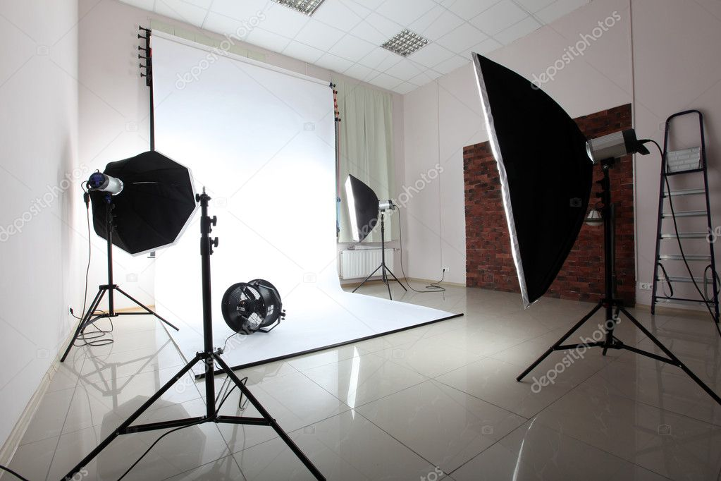 interior of a modern photo studio stock photo. Black Bedroom Furniture Sets. Home Design Ideas