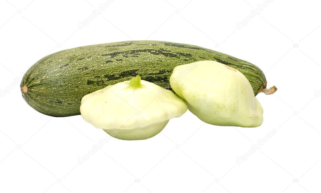 Zucchini and two bush pumpkins it is isolated on a white background.  Stockfoto #6791182