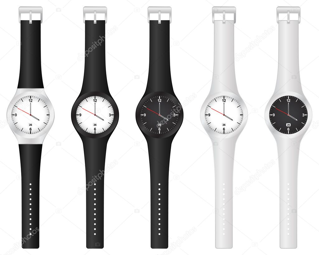 Set vector illustration wristwatch on a white background.  Stock Vector #6940573