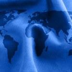 trama di stoffa con la mappa del mondo — Foto Stock