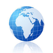 Blue world globe with reflection — Stock Photo