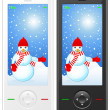 Mobile phone with snowman — Imagen vectorial